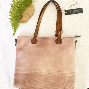 Isabelle NWT Pink & Brown Vegan Leather Tote